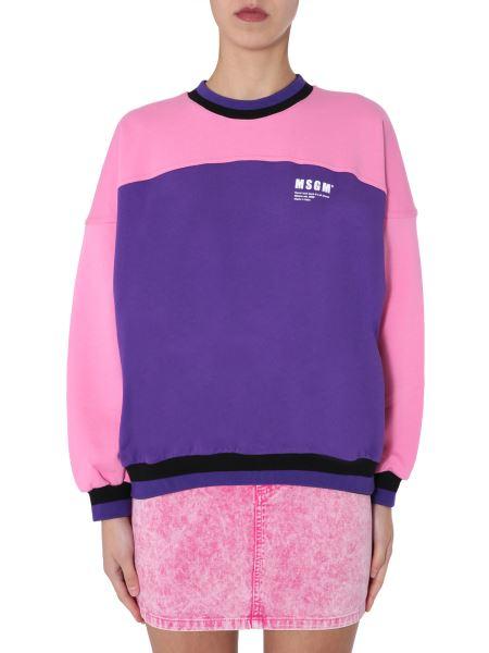 Msgm - Two-tone Crew Neck Cotton Sweatshirt With Logo