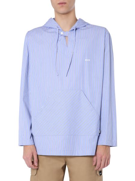 Msgm - Cotton Poplin Hooded Blouse With Striped Pattern
