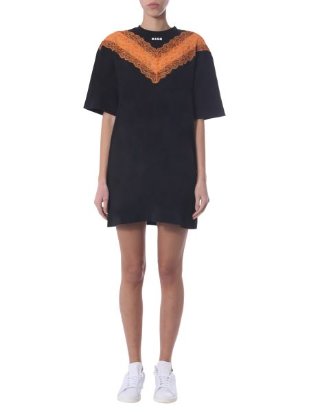 Msgm - Mini Dress With Logo And Lace
