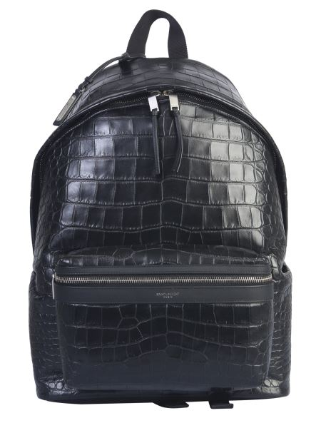 Saint Laurent - Crocodile Print City Leather Backpack