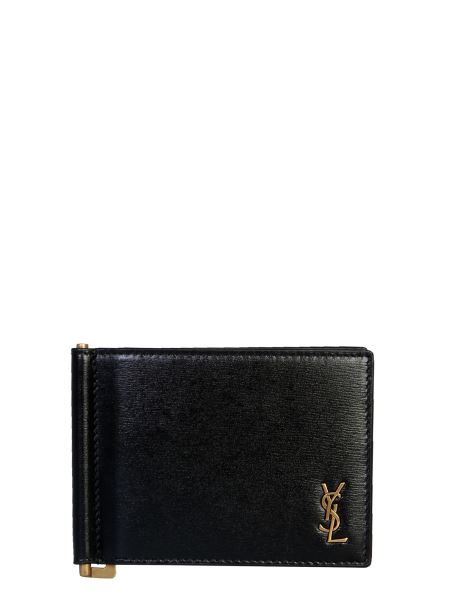 Saint Laurent - Shiny Leather Wallet With Logo