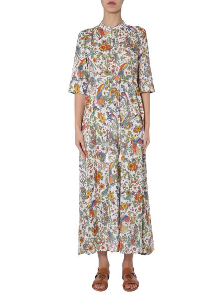 "Tory Burch - Long Cotton Dress With ""promised Land"" Print"