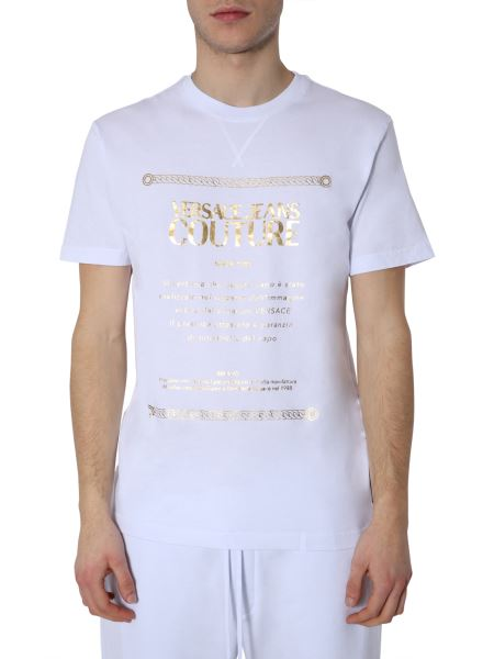 Versace Jeans Couture - Crew Neck Cotton T-shirt With Print And Logo