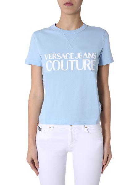 Versace Jeans Couture - T-shirt Girocollo In Cotone Con Logo Gommato