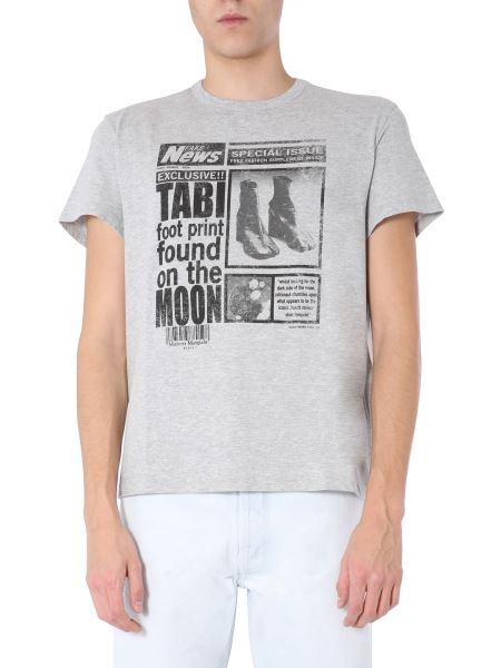 "Maison Margiela - Makò Cotton Jersey T-shirt With Vintage Effect ""tabi"" Print"