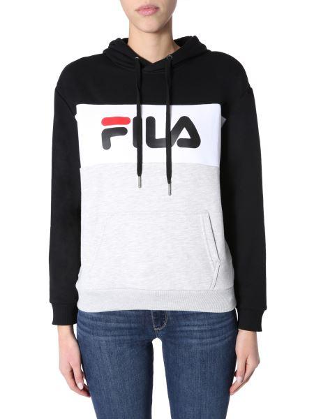 "Fila - ""lori"" Hooded Sweatshirt With Logo Strip"