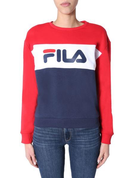 "Fila - ""leah"" Crew Neck Color Block Cotton Sweatshirt With Logo"