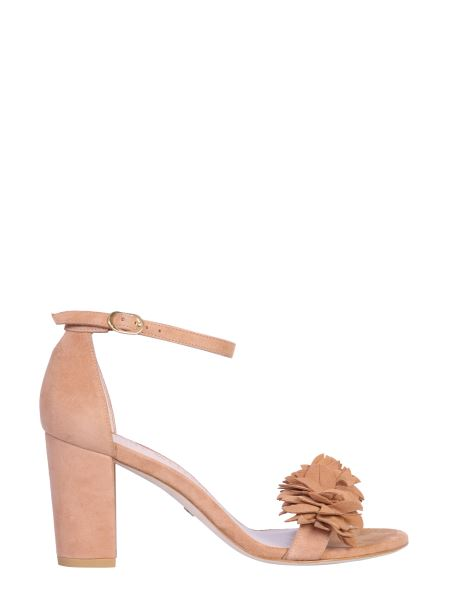 "Stuart Weitzman - ""nearly Flower"" Suede Leather Sandal"