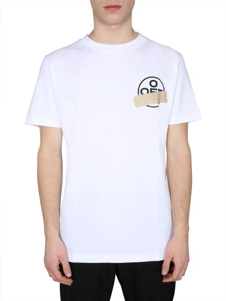 "Off-white - ""tape Arrows"" Cotton Crew Neck T-shirt"