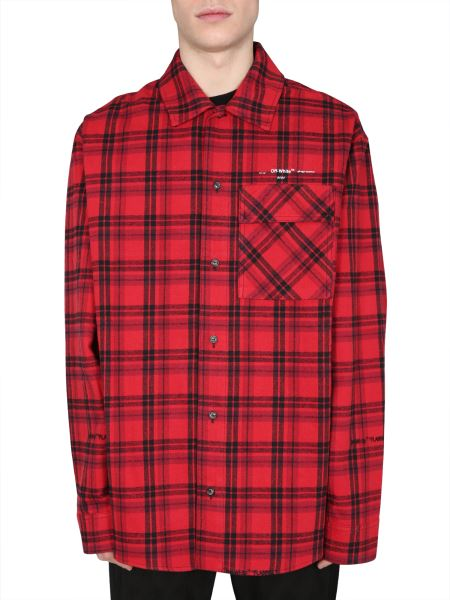 Off-white - Oversize Fit Cotton Flannel Shirt