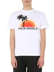 PALM ANGELS - T-SHIRT GIROCOLLO CON LOGO