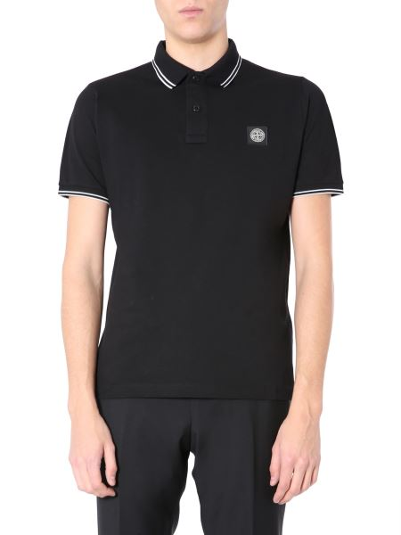 Stone Island - Regular Fit Piquet Cotton Polo With Patch Logo