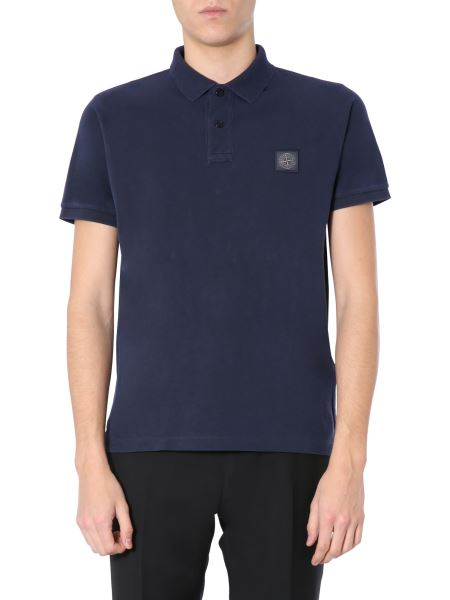 Stone Island - Regular Fit Piquet Cotton Polo With Logo Patch