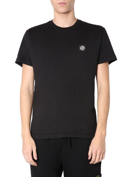 Stone Island - Crew Neck Cotton T-shirt With Logo Patch
