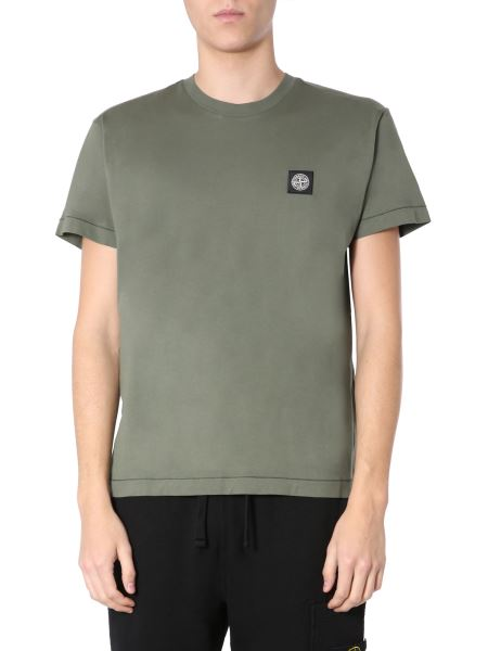 Stone Island - Cotton Crew Neck T-shirt With Patch Logo
