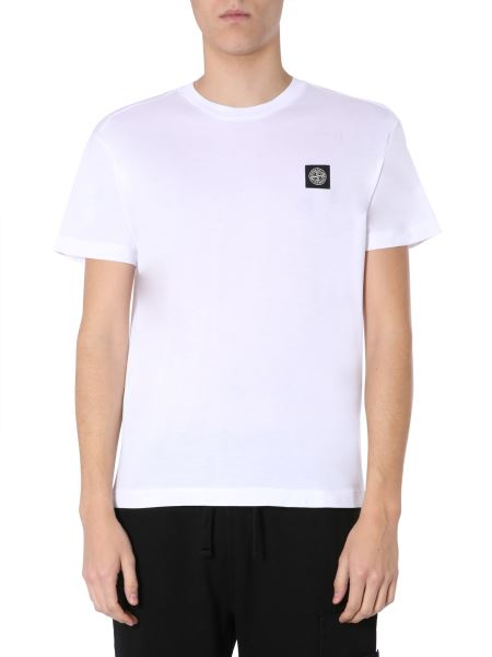 Stone Island - Crew Neck Cotton T-shirt With Pocket And Logo Patch