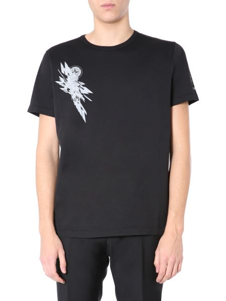 Stone Island Shadow Project - Crew Neck Cotton T-shirt With Print And Logo