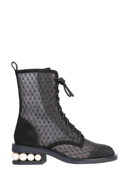 Nicholas Kirkwood - Casati Mesh And Suede Leather Boots
