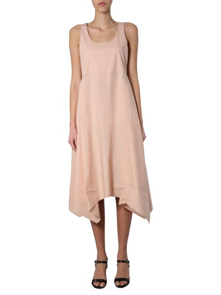 Fabiana Filippi - Round Neck Cotton Dress With Asymmetric Line