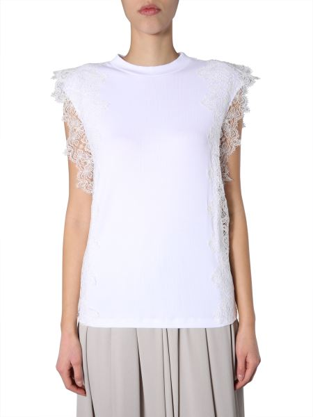 Fabiana Filippi - Ribbed Cotton Jersey Top With Feather Pattern