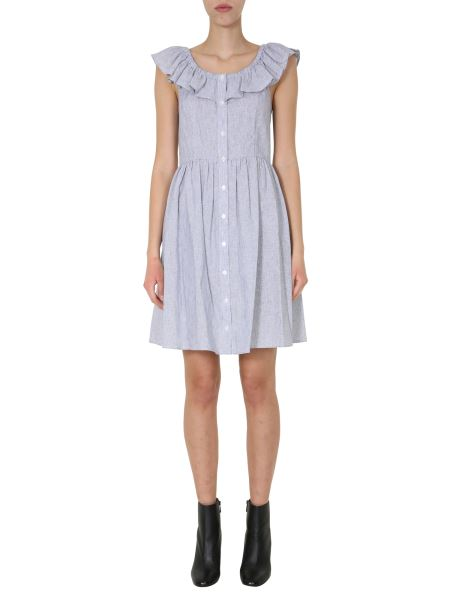 Michael By Michael Kors - Linen Blend Midi Dress With Volant