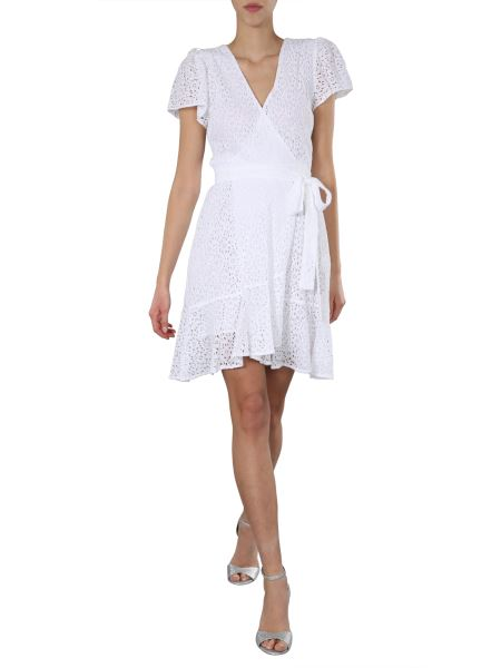 Michael By Michael Kors - Creased Lace Short Dress With Belt