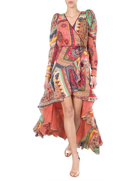 Etro - Long Cotton And Silk Gauze Dress With Patchwork Pattern