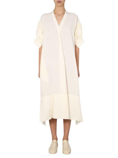 Jil Sander - V-neck Linen Blend Dress With Wide Sleeve