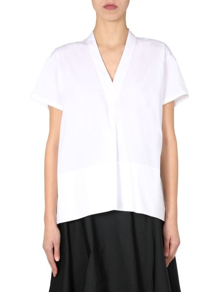 Jil Sander - V-neck Cotton Pleated Shirt