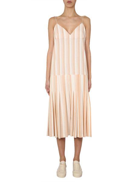 Jil Sander - V-neck Cotton Jersey Dress With Striped Pattern