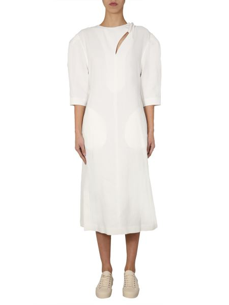 Jil Sander - Midi Linen Dress With Wide Structured Sleeve