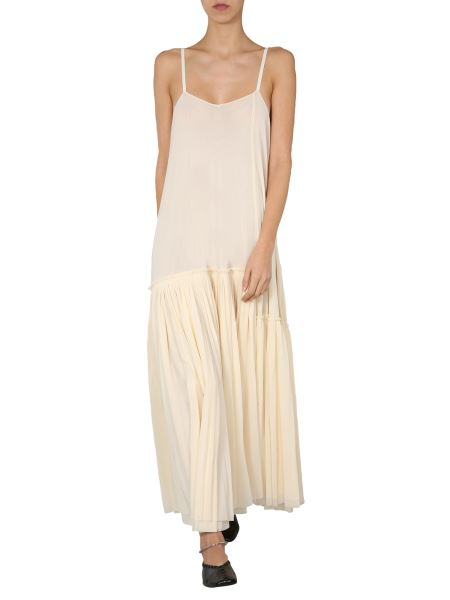 Jil Sander - Long Jersey Dress With Pleated Bottom