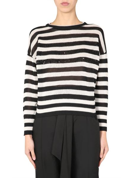 Brunello Cucinelli - Cotton Sweater With Striped Pattern And Jewel Detail