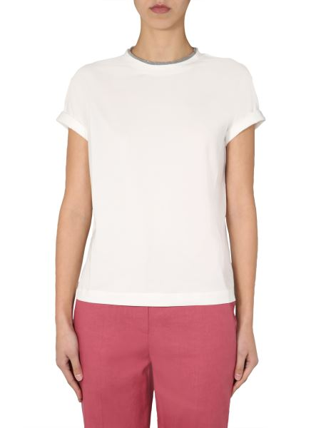 Brunello Cucinelli - Cotton Stretch Jersey T-shirt With Jewellery Details