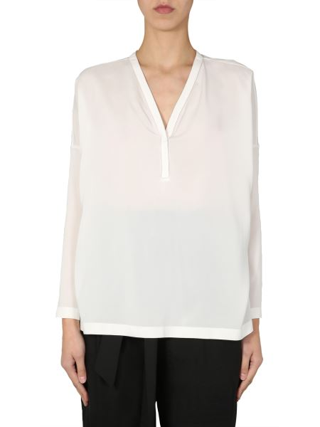 Brunello Cucinelli - V-neck Silk Blouse With Jewellery Details
