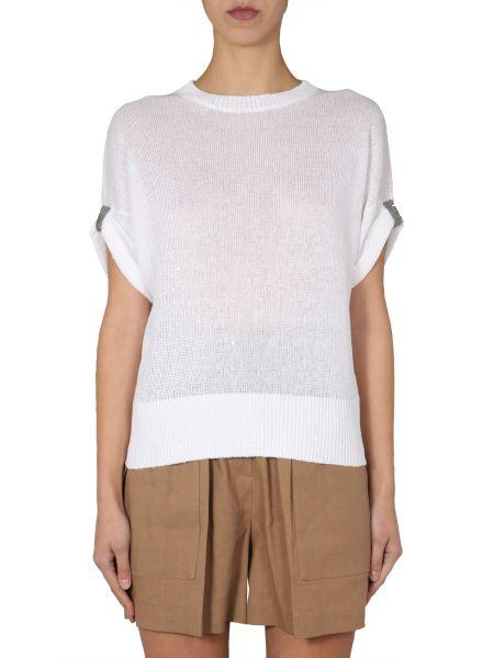 Brunello Cucinelli - Linen Blend Sweater With Jewellery Details
