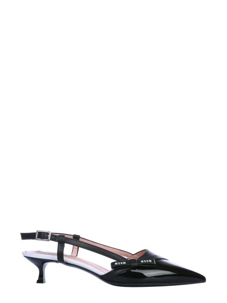 Msgm - Sling Back Leather Sandals With Logo