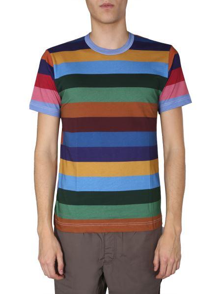 Comme Des Garcons Shirt - T-shirt Girocollo In Cotone Con Logo E Motivo A Righe
