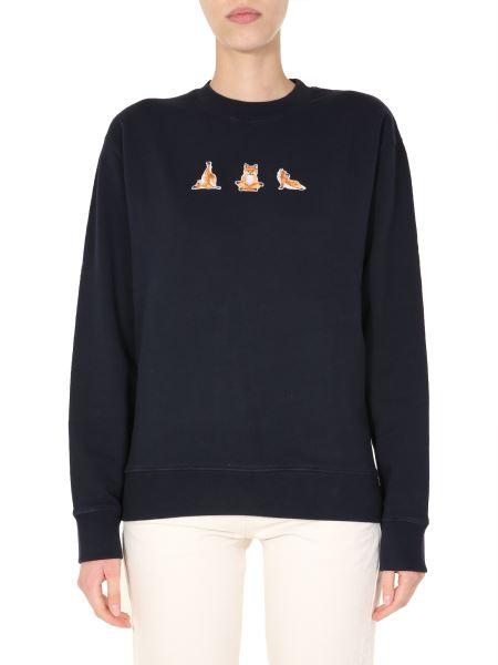 Maison Kitsuné - Cotton Crew Neck Sweatshirt With Yoga Fox Patches