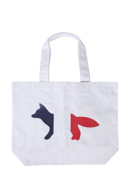 Maison Kitsuné - Borsa Shopping Tricolor Fox In Cotone