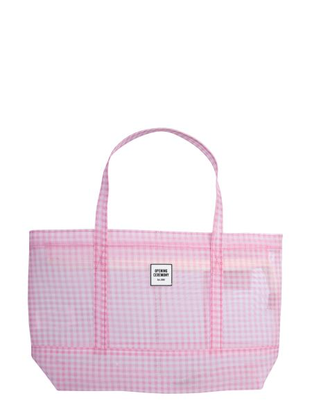 """Opening Ceremony - """"gingham Small Chinatown Tote"""" Transparent Bag With Check Pattern"""