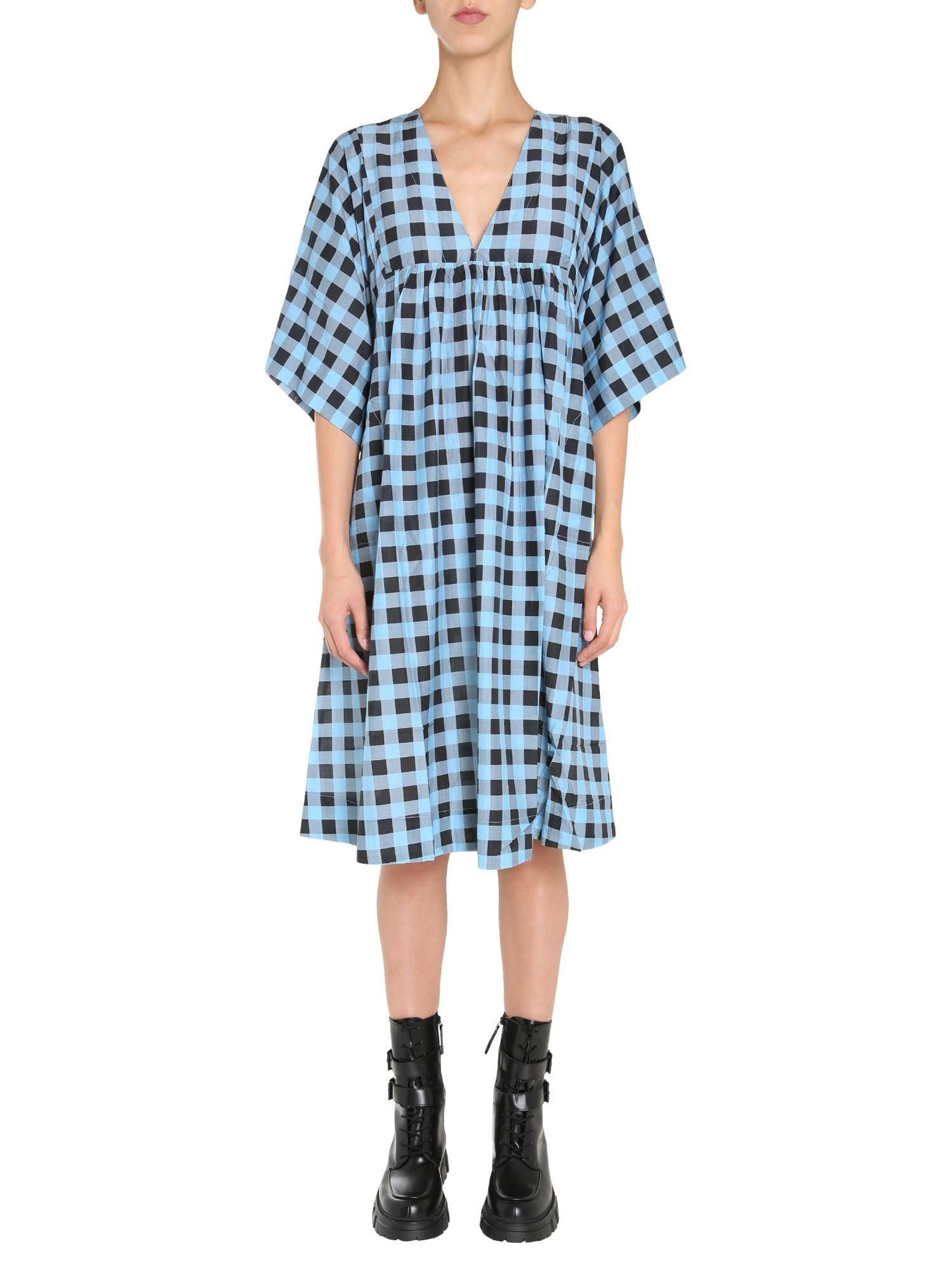 Ganni Silks V-NECK DRESS