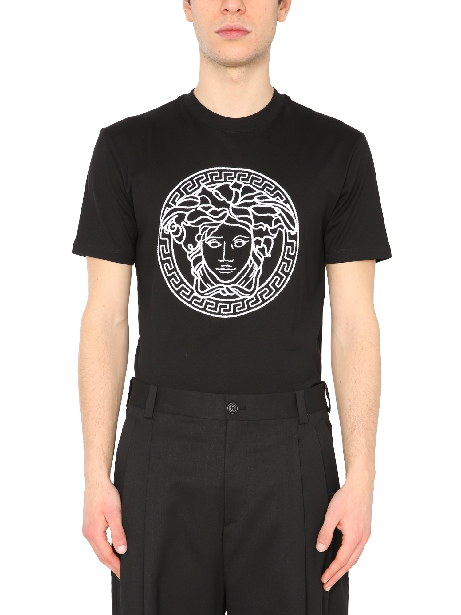 Versace Cottons T-SHIRT WITH MEDUSA EMBROIDERED