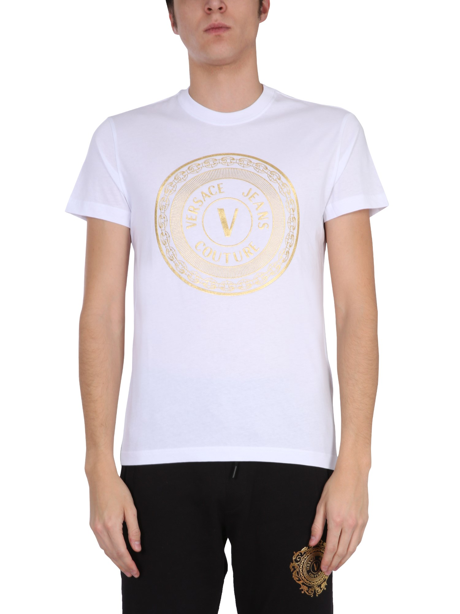 Versace Jeans Couture T-shirts T-SHIRT CON LOGO V EMBLEME