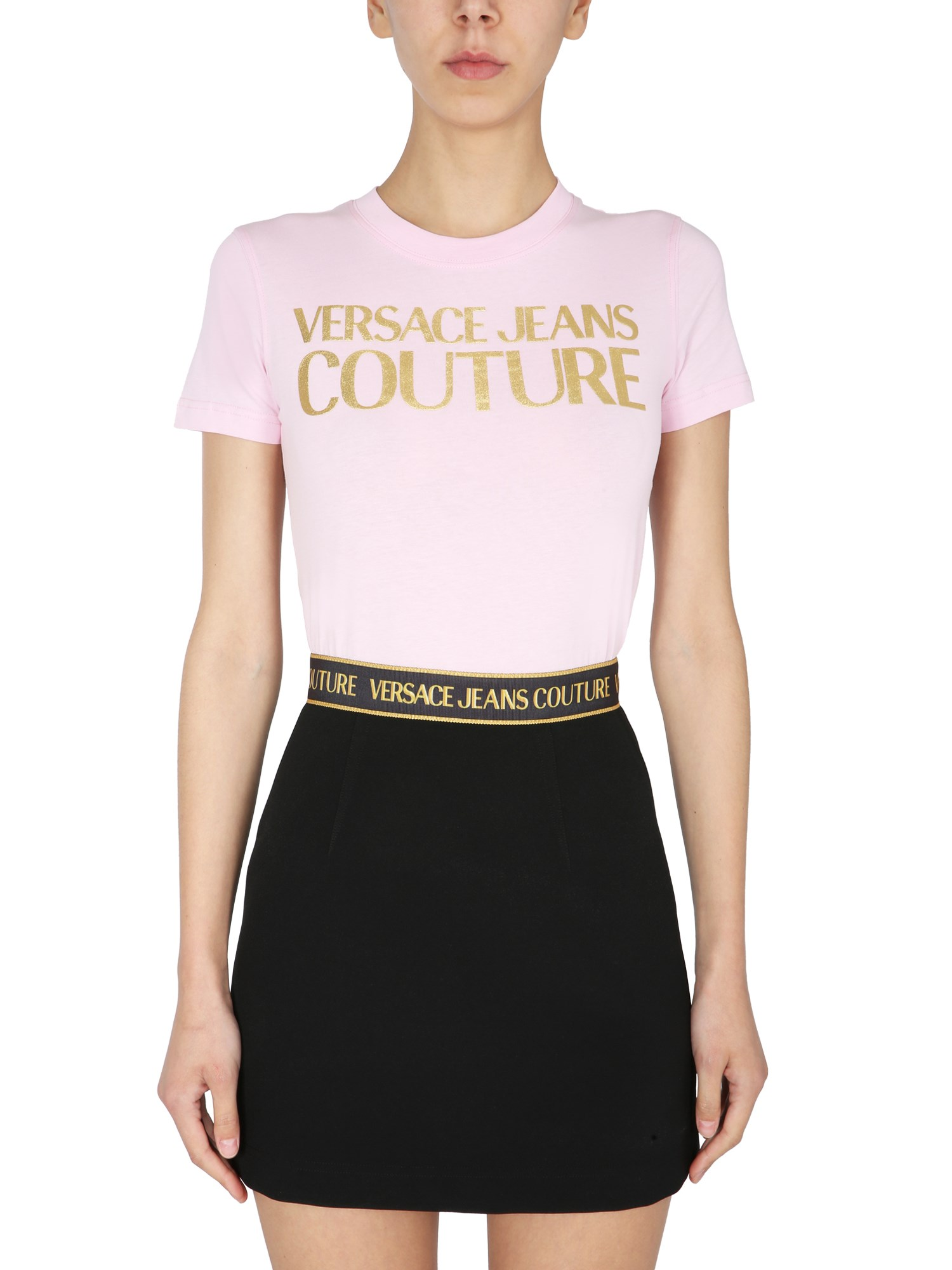 Versace Jeans Couture T-shirts T-SHIRT WITH METALLIC LOGO