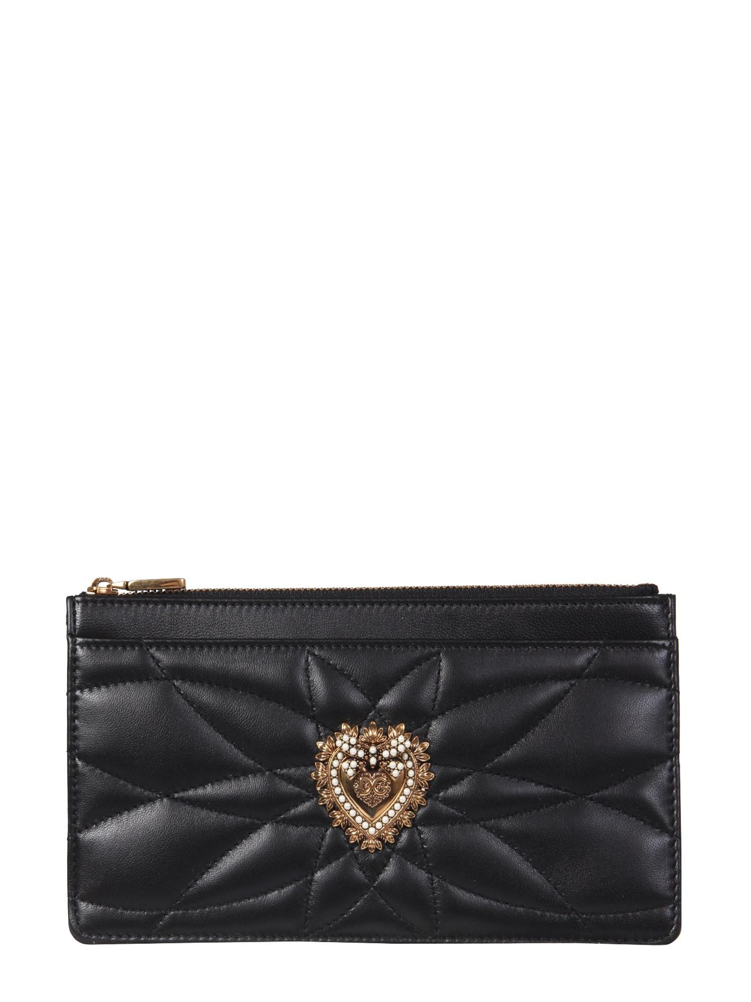 Dolce & Gabbana Large Devotion Card Holder In Black