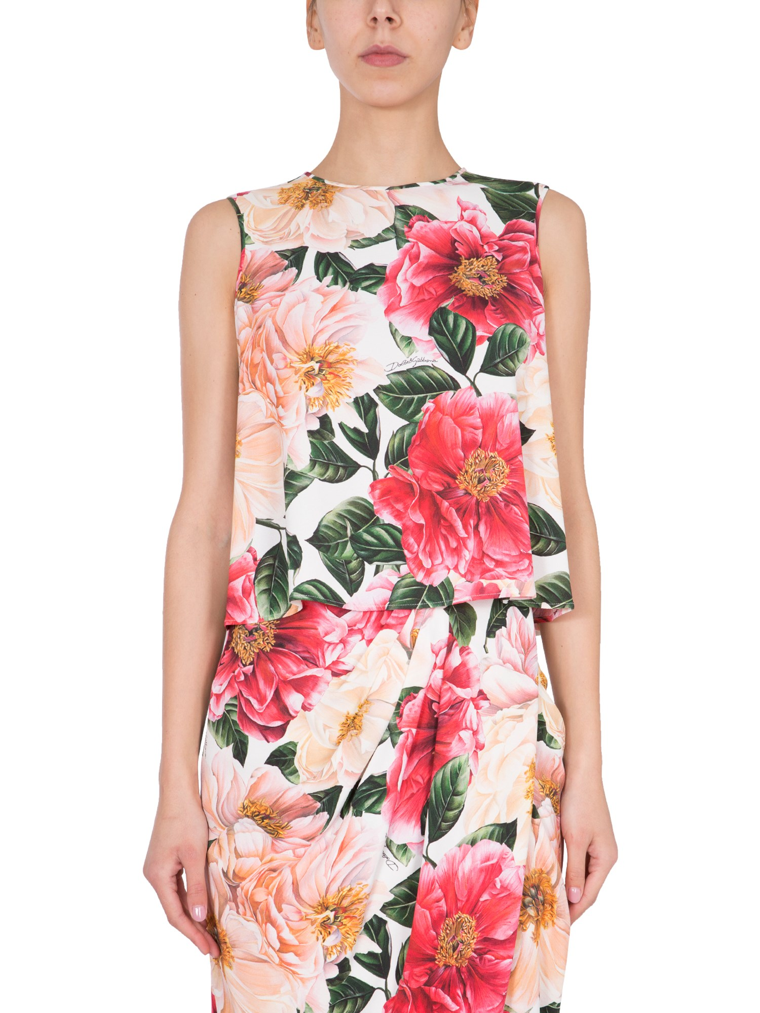 Dolce & Gabbana TOP CON STAMPA CAMELIE