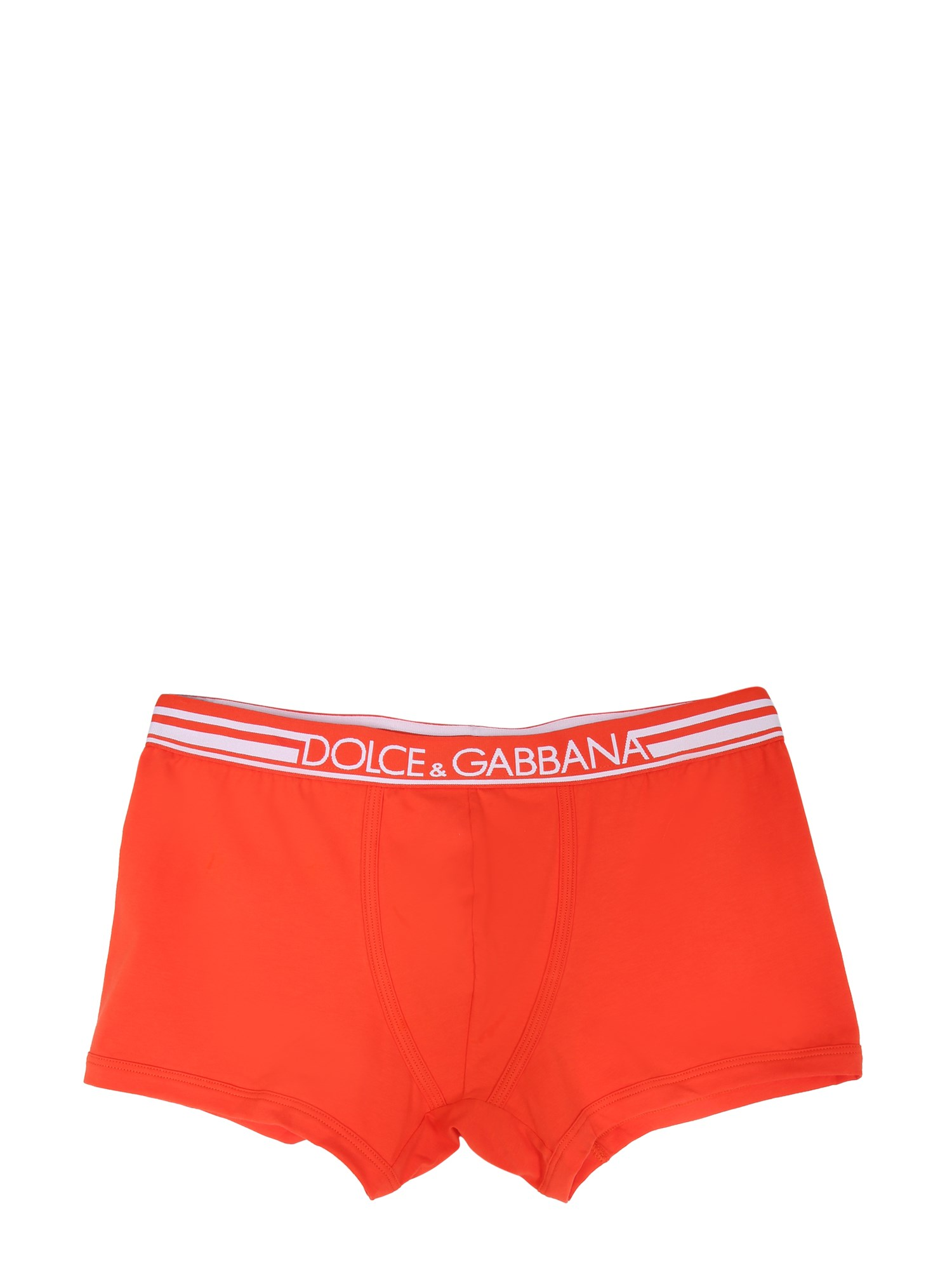 Dolce & Gabbana Bielastic Cotton Boxer In Rosso