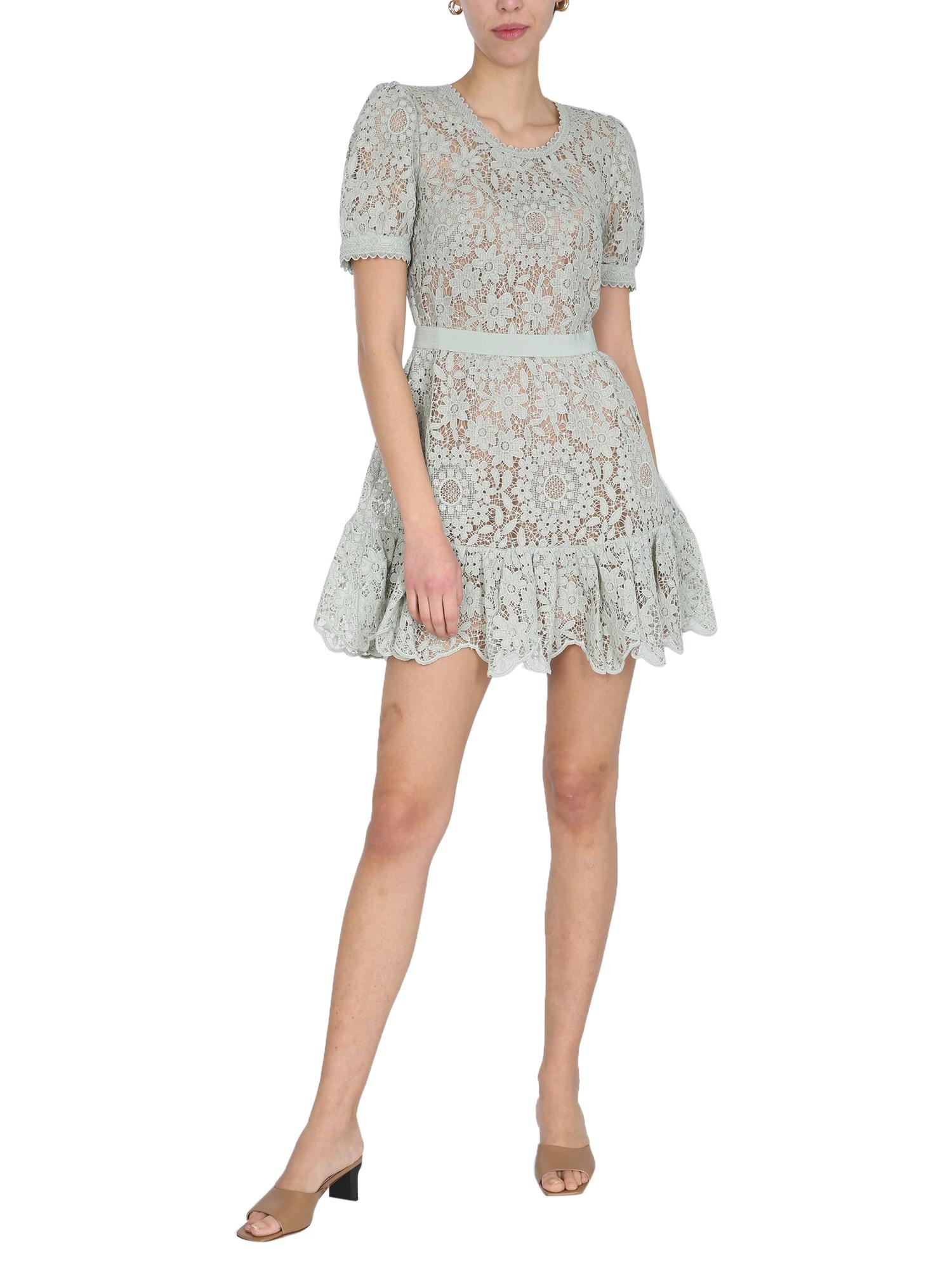self-portrait midi guipure lace dress