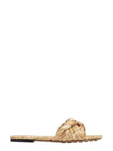 Bottega Veneta - The Lido Raffia Flat Sandals With Square Toe